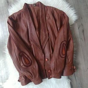 Vintage cognac leather jacket